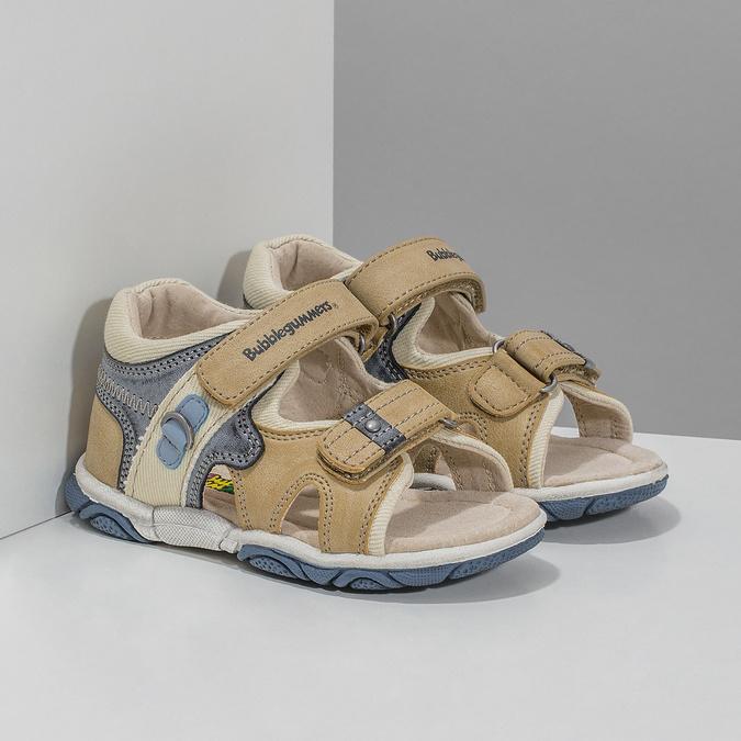 Detské sandále na suchý zips bubblegummers, hnedá, 161-3606 - 26