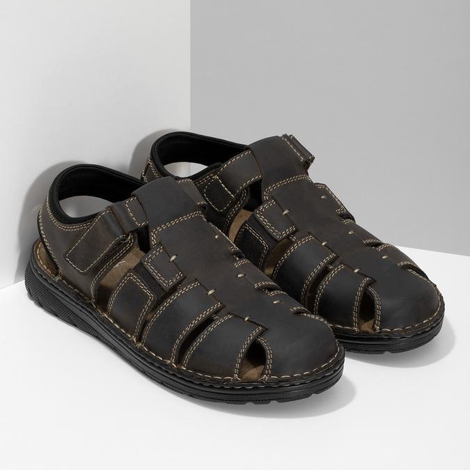 Kožené sandále so zavretou špičkou bata, hnedá, 866-4616 - 26