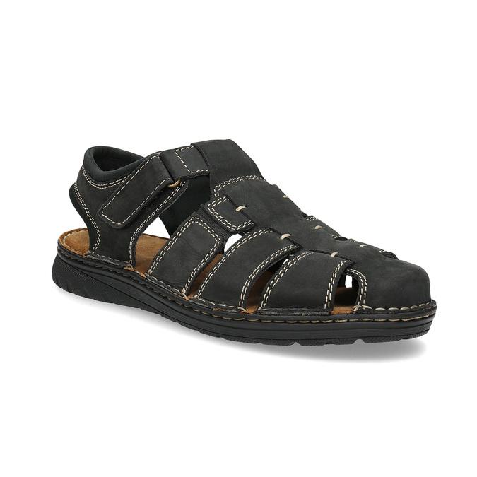 acc81e778522 Bata Pánske čierne kožené sandále s plnou špičkou - Sandále