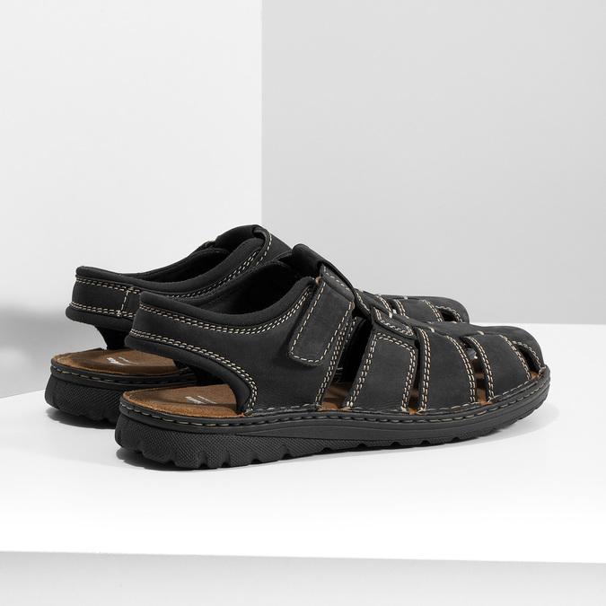 Pánske čierne kožené sandále s plnou špičkou bata, čierna, 866-6616 - 16