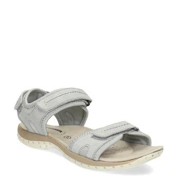Kožené dámske sandále na suchý zips weinbrenner, šedá, 566-2608 - 13