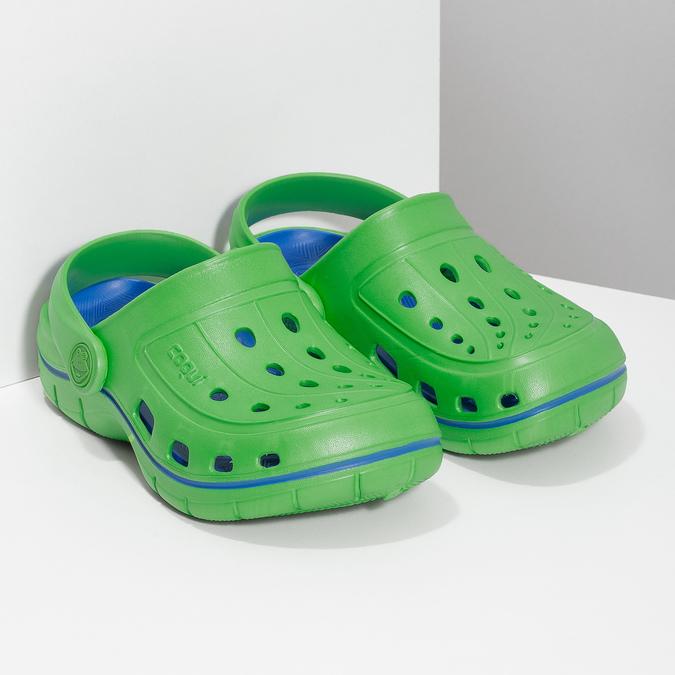 Zelené detské sandále typu Clogs coqui, zelená, 372-7656 - 26