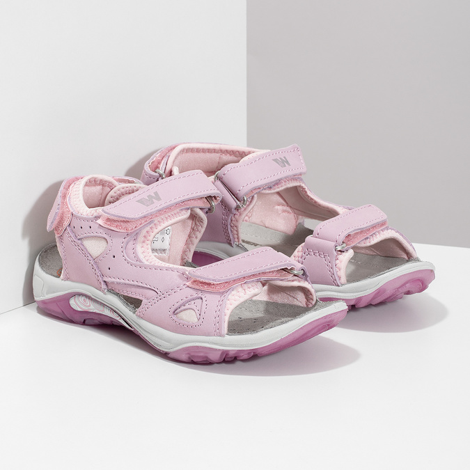 Dievčenské kožené sandále v Outdoor štýle weinbrenner, ružová, 366-5606 - 26