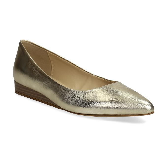 dc0e96db1bd9 Bata Zlaté kožené baleríny do špičky - Všetky topánky