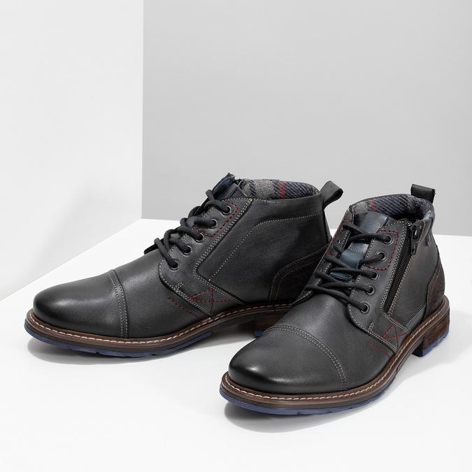 Pánska kožená členková obuv so zipsom bata, šedá, 896-2678 - 16