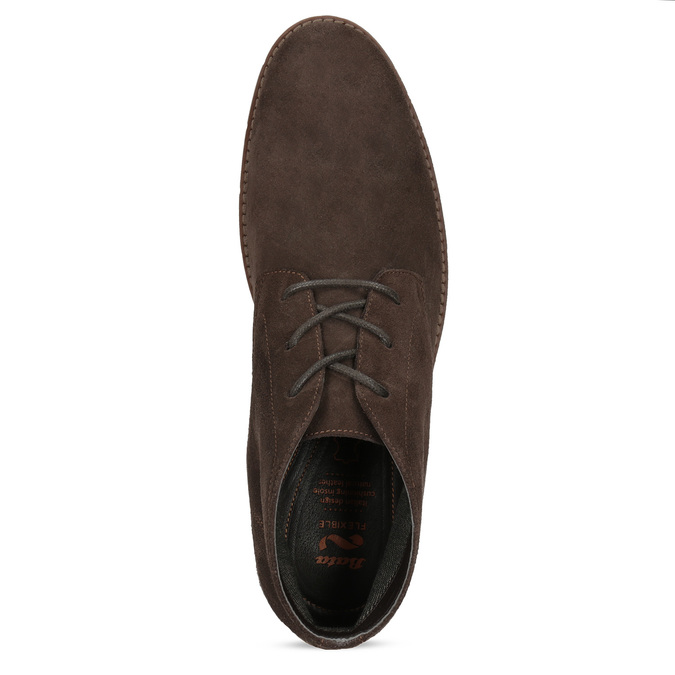 Pánska členková kožená hnedá obuv flexible, hnedá, 823-4632 - 17