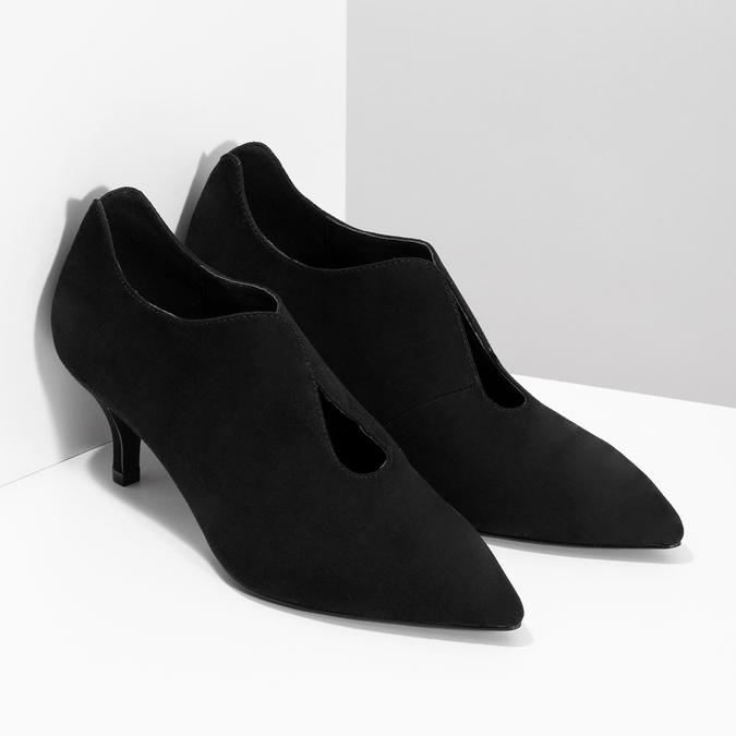 Čierne dámske lodičky s vykrojením insolia, čierna, 629-6648 - 26