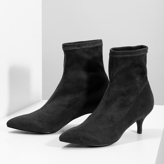Šedé ponožkové čižmičky na Kitten podpätku bata, šedá, 699-2643 - 16