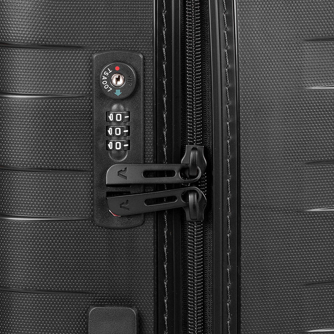 Malý škrupinový kufor na kolieskach roncato, čierna, 960-9728 - 15