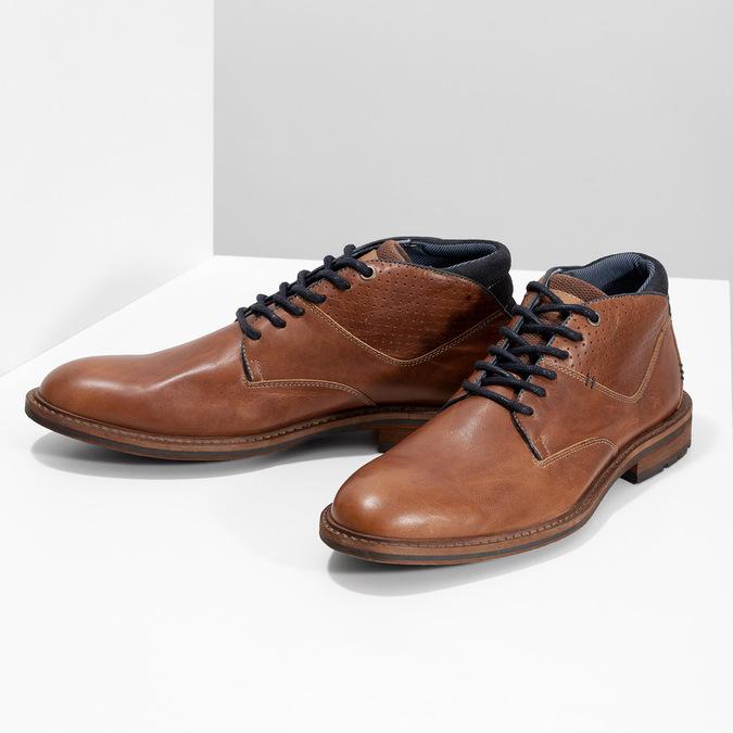 Hnedá členková kožená pánska obuv bata, hnedá, 826-3505 - 16