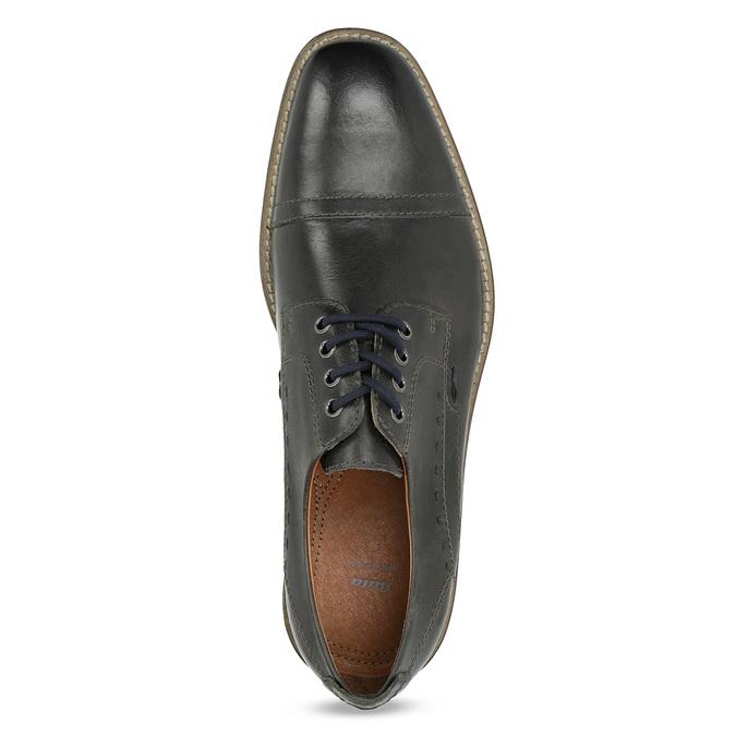 Pánske kožené Derby poltopánky bata, čierna, 826-2866 - 17