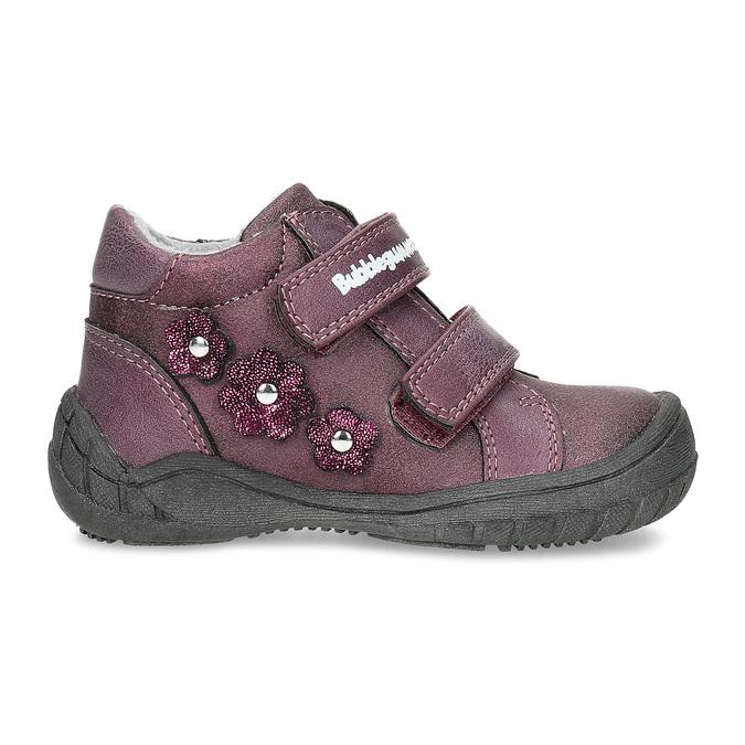 Fialové dievčenské topánky s kytičkami bubblegummers, fialová, 121-5622 - 19