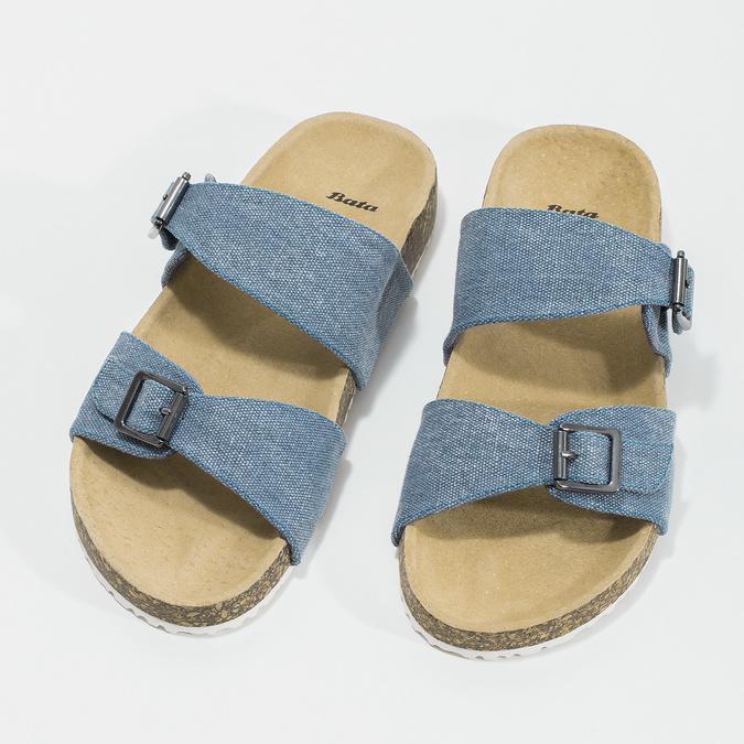 Dámske modré korkové papuče bata, modrá, 579-9625 - 16