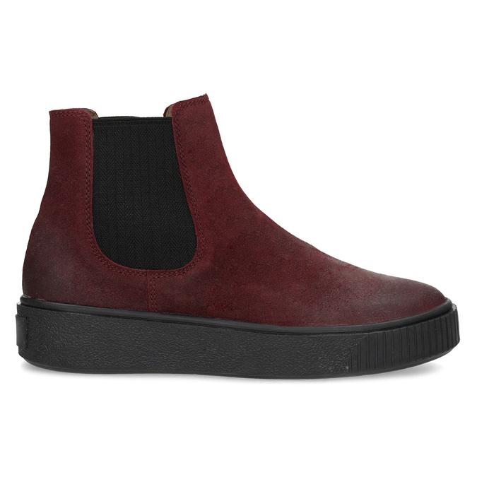 Kožená vínová dámska Chelsea obuv bata, červená, 596-5713 - 19