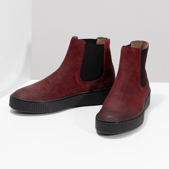 Kožená vínová dámska Chelsea obuv bata, červená, 596-5713 - 16