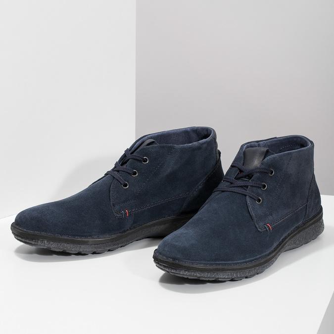 Modrá kožená pánska členková obuv bata, modrá, 843-9640 - 16