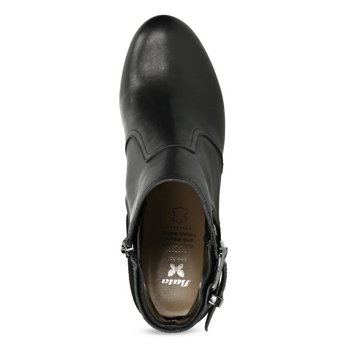 Kožené členkové čižmy s kovovou prackou bata, čierna, 794-6655 - 17