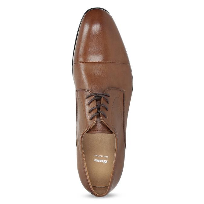 Hnedé kožené pánske poltopánky bata, hnedá, 826-3406 - 17