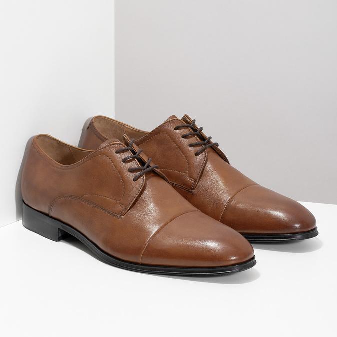 Hnedé kožené pánske poltopánky bata, hnedá, 826-3406 - 26