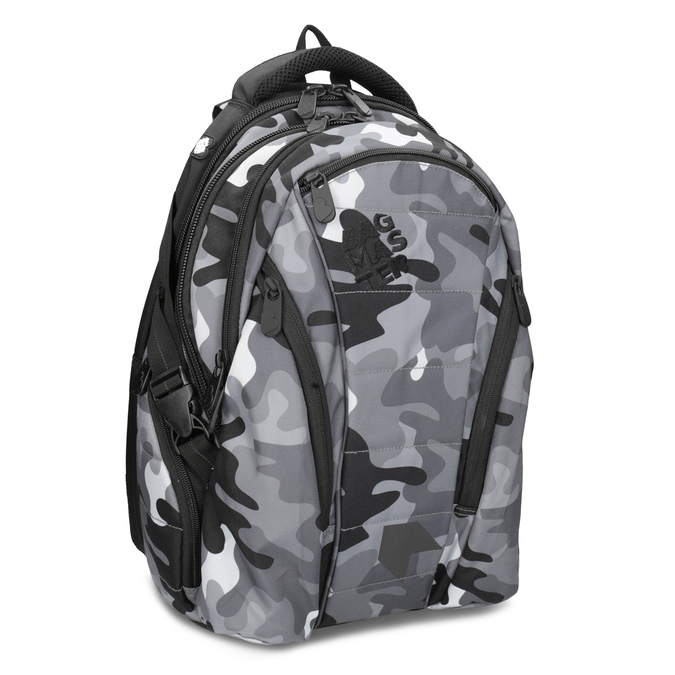 Maskáčový šedý školský batoh bagmaster, šedá, 969-2718 - 13