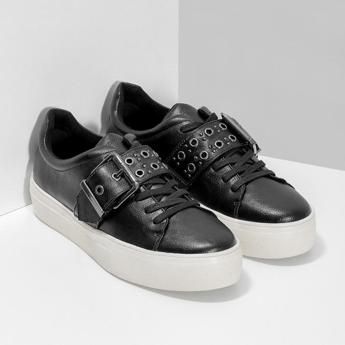 Čierne dámske tenisky s prackou bata-light, čierna, 541-6604 - 26
