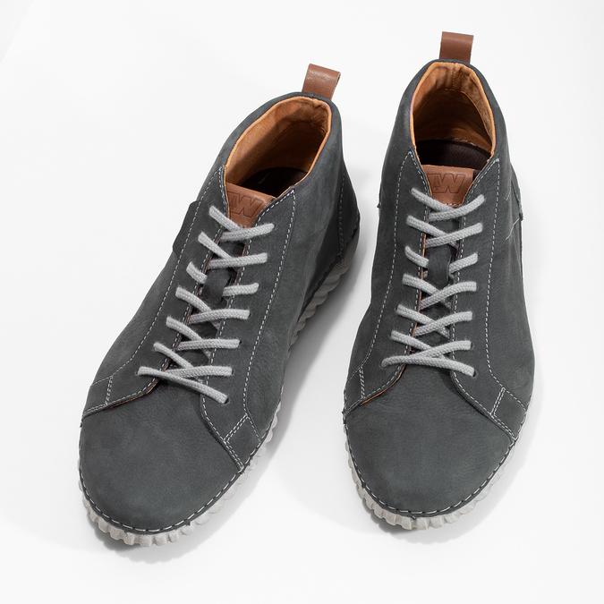 Členkové kožené tenisky s prešitím weinbrenner, šedá, 846-6720 - 16