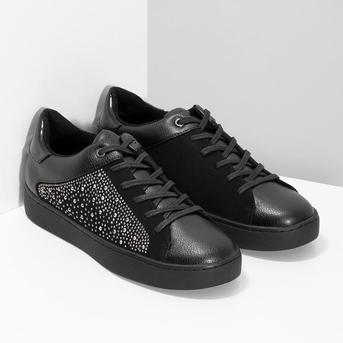 Čierne dámske tenisky s kamienkami bata-light, čierna, 549-6611 - 26