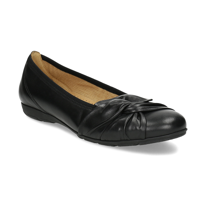 Čierne kožené dámske baleríny gabor, čierna, 524-6048 - 13