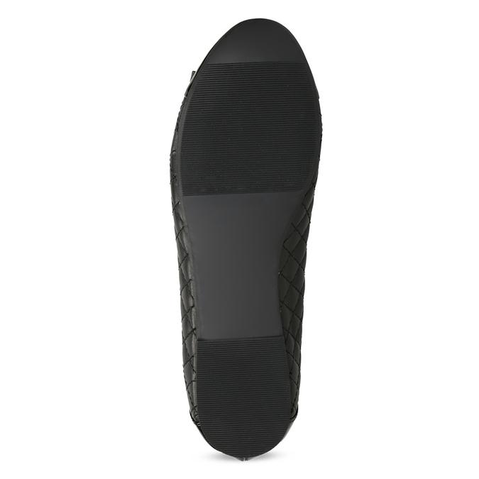 Čierne kožené baleríny s mašľou a prešívaním bata, čierna, 524-6667 - 18