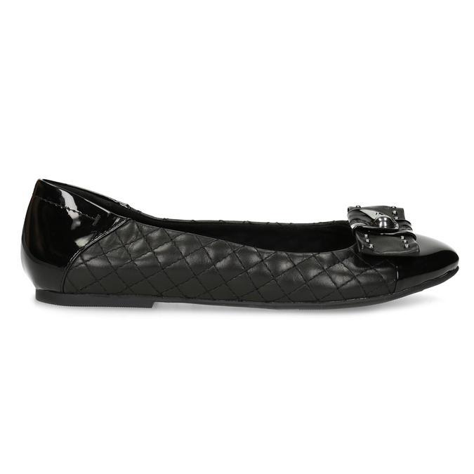 Čierne kožené baleríny s mašľou a prešívaním bata, čierna, 524-6667 - 19