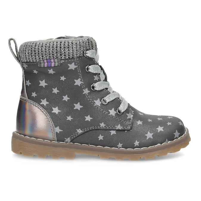 Šedá členková detská obuv s hviezdičkami mini-b, šedá, 221-2610 - 19