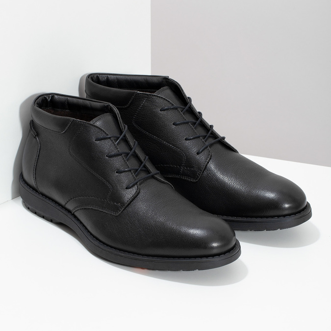 Členková čierna kožená pánska obuv flexible, čierna, 894-6704 - 26