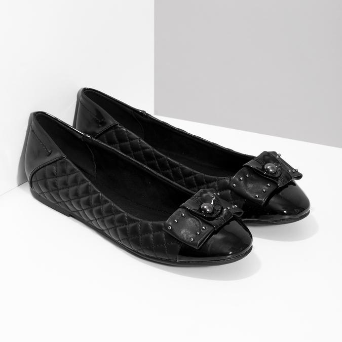Čierne kožené baleríny s mašľou a prešívaním bata, čierna, 524-6667 - 26
