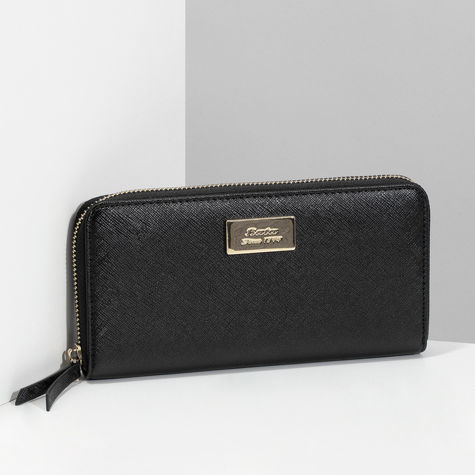 Čierna dámska peňaženka na zips bata, čierna, 941-6223 - 17