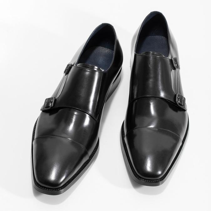 Pánske kožené Monk Shoes poltopánky bata, čierna, 824-6613 - 16