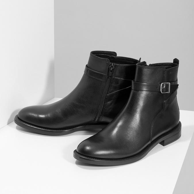 Kožená dámska členková obuv s prackou vagabond, čierna, 514-6140 - 16