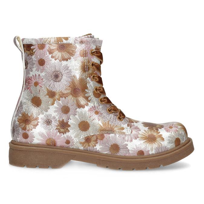 Detská členková obuv s kvetinovým vzorom mini-b, hnedá, 321-8620 - 19