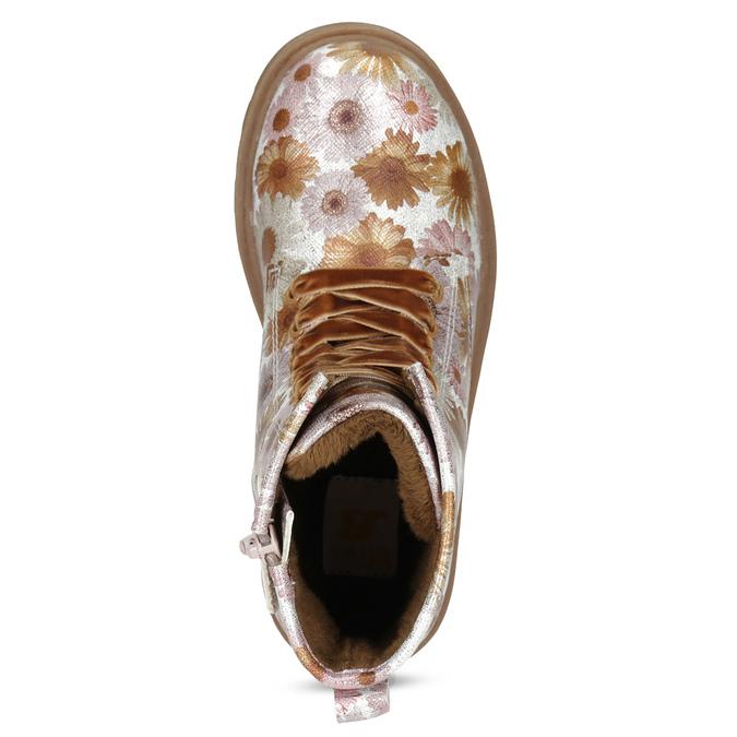 Detská členková obuv s kvetinovým vzorom mini-b, hnedá, 321-8620 - 17