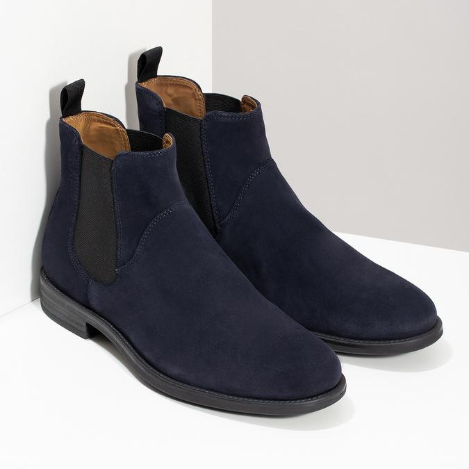 Tmavomodrá kožená pánska Chelsea obuv vagabond, modrá, 813-6153 - 26