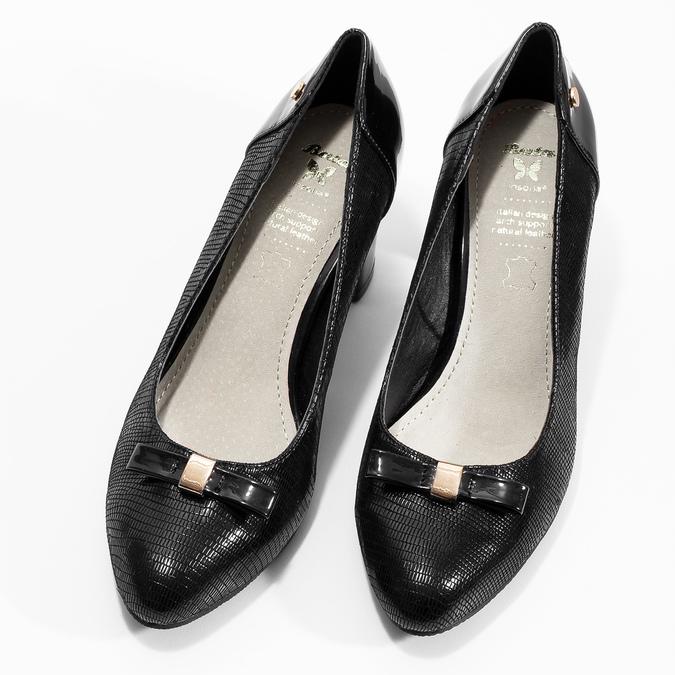 Čierne lodičky do špičky s mašľou insolia, čierna, 721-6631 - 16
