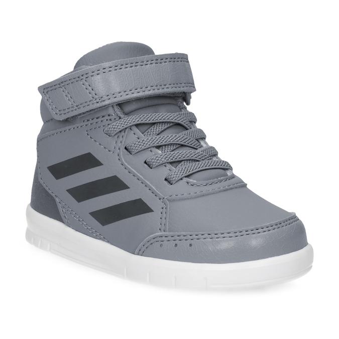 Šedé členkové detské tenisky na suchý zips adidas, šedá, 101-2220 - 13