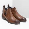 Hnedá kožená členková obuv s prackou bata, hnedá, 826-4781 - 26