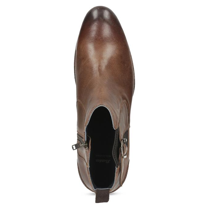 Hnedá kožená členková obuv s prackou bata, hnedá, 826-4781 - 17
