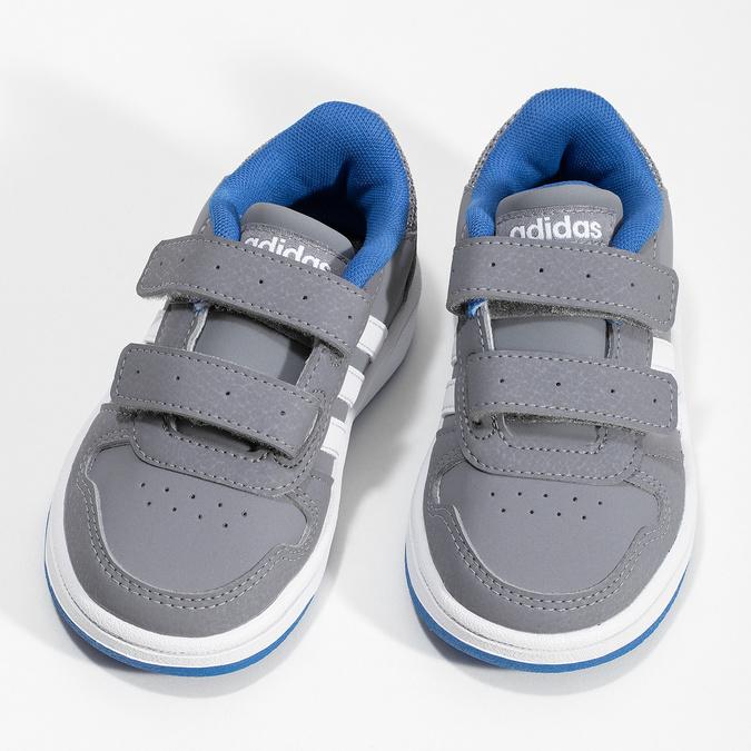 Šedé detské tenisky s modrými detailami adidas, šedá, 101-2194 - 16