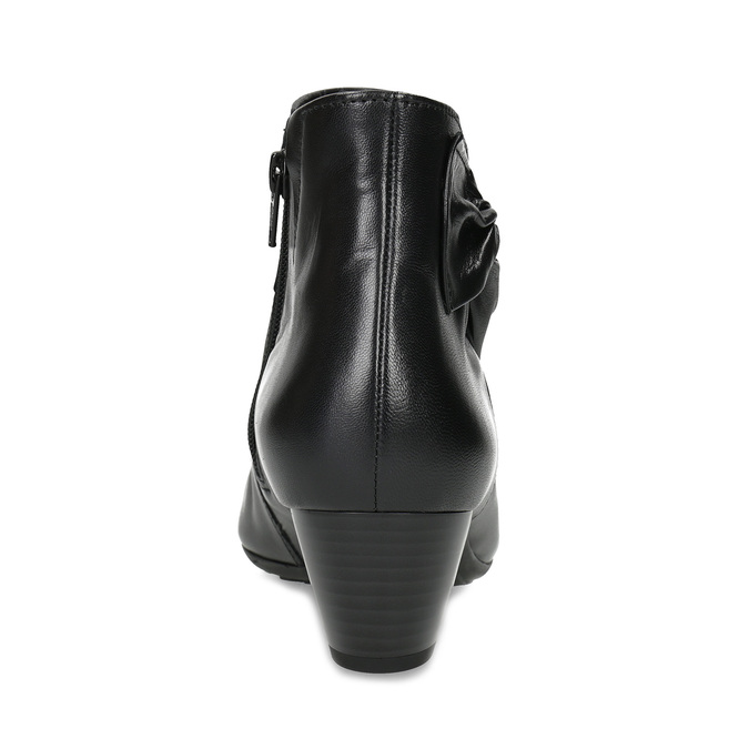 Čierne kožené členkové čižmy s mašľou gabor, čierna, 614-6005 - 15