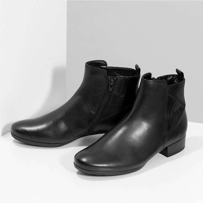 Dámske kožené čierne členkové čižmy gabor, čierna, 614-6049 - 16