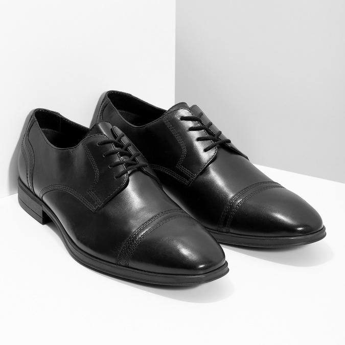 Pánske čierne kožené Derby poltopánky bata, čierna, 824-6891 - 26