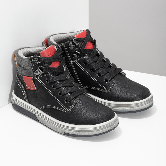 Členkové detské tenisky s červenými detailmi mini-b, čierna, 211-6626 - 26