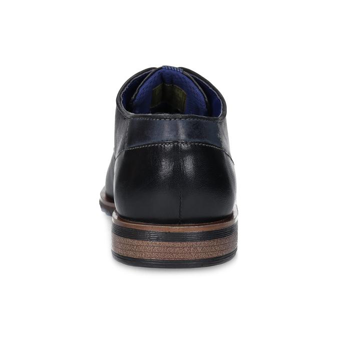 Derby kožené poltopánky s perforáciou bugatti, čierna, 826-6053 - 15