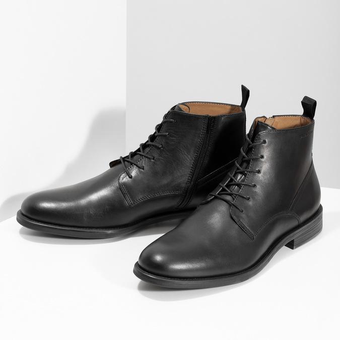 Pánska čierna kožená členková obuv vagabond, čierna, 824-6238 - 16